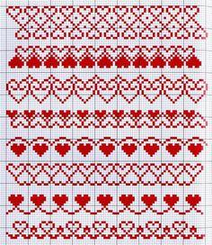 Вышивка крестом. Узоры с сердцем Crochet Snowflake Pattern, Crochet Stitches Patterns, Crochet Chart, Loom Patterns, Knitting Patterns, Cross Stitch Heart, Cross Stitch Borders, Cross Stitch Designs, Cross Stitching
