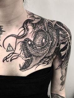 ✝️FreeHand✝️Rotten Snake✝️ done at Toronto, Ontario Thank you ✖️✖️✖️Sponsored by Black Snake Tattoo, Black Ink Tattoos, Dark Tattoo, Body Art Tattoos, Wicked Tattoos, Badass Tattoos, Tattoos For Guys, Cool Tattoos, Piercing Tattoo