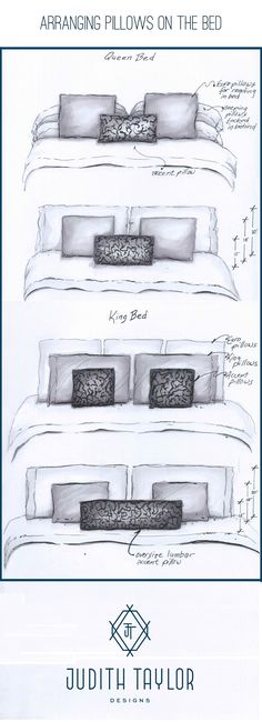Arrangement and sizing for pillows on Queen and King bed…