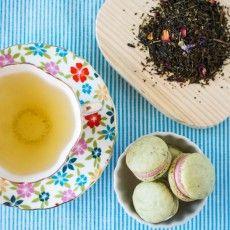 Green Tea Macarons with Raspberry Buttercream Tea Pairing: Mariage Freres Sweet Shanghai (Green Tea) Teacup: Vintage Bone China, Hammersley & Co, Made in England