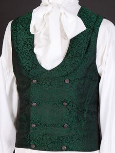 Period Style Bow Cravat Shirt with Jareth Waistcoat - Double breasted period style waistcoat with collar in Green 17th Century Fashion, 18th Century, Double Breasted Waistcoat, Cravat, Mens Fashion, Fashion Outfits, Character Outfits, Victorian Fashion, Making Ideas