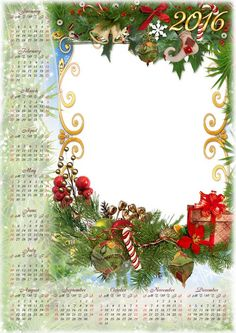 Free set: 2016 Calendar psd with cutout for photo   photo frame psd Christmas design - Happy New Year and Merry Christmas!
