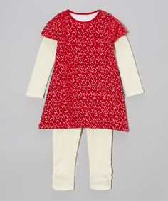 Red Bee a Star Organic Layered Tunic & White Leggings