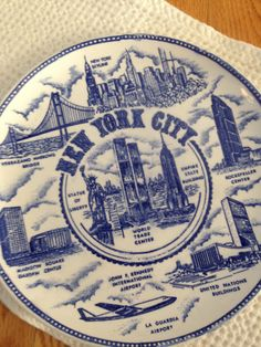 New York City Collector Plate Blue by LittleDixieVintage on Etsy