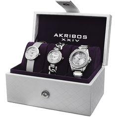 Akribos Xxiv Women's Quartz Diamond Dial Silver-Tone Strap/Bracelet Watch Set with Watch Box (Silver-tone), Pink - Size: One Size Fits All (satin) Gold Set, Fashion Watches, Women's Watches, Diamond Watches, Wrist Watches, Luxury Watches, Jewelry Watches, So Little Time, Fashion Bracelets