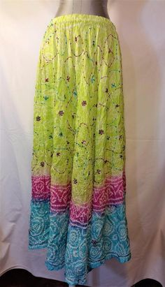 Bohemian Peasant Phool Silk Maxi Skirt Bright Colors Embroidery Sequin Detail OS #phool #PeasantBoho