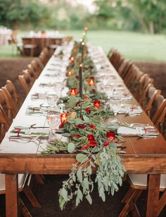 Green and red garland for this fall tablescape