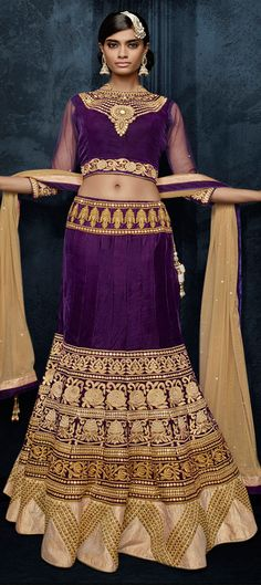 729622: Purple and Violet  color family Bridal Lehenga .