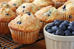 Oh so yummy and easy blueberry muffins! The picture is deceiving. You don't use big sugar crystals on top. It's actually a butter, sugar, flour, cinnamon mixture...YUM!
