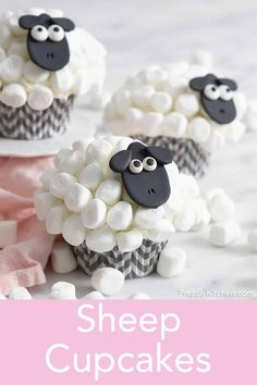 These cute and delicious sheep cupcakes from Preppy Kitchen have marshmallow fur an easy to make fondant face and the whole thing sits on top of a moist and rich chocolate sponge base. Sheep Cupcakes, Sheep Cake, Easter Cupcakes, Yummy Cupcakes, Cupcake Birthday Cake, Themed Birthday Cakes, Cupcake Cakes, Cup Cakes, Marshmallow Pictures