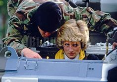 October 19,1985: Princess Diana, Colonel-in-chief of The Royal Hampshire Regiment wearing a regimental track suit taking a driving lesson in a 15-ton tank in the parade ground during her visit to the regiment when serving in West Berlin, Germany.