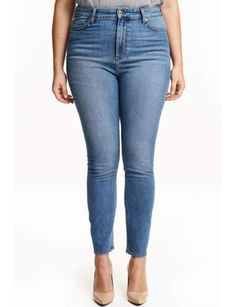 ankle-length jeans in washed stretch denim with a high waist and slim legs. Plus Size Womens Clothing, Clothes For Women, Jeans Skinny, Ankle Jeans, Slim Legs, Online Shopping Clothes, Stretch Denim, Blue Denim, Fashion Online