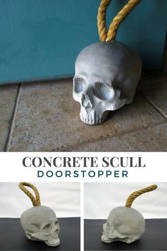 Awesome concrete skull doorstopper. Functional home decor piece also. Perfect for mancaves. #concrete #ad #skull #doorstopper #homedecor #mancave