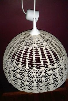 Kasia in the house and garden: Crochet chandelier + box Doily Lamp, Crochet Lampshade, Lampshade Chandelier, Lace Lamp, Lampshades, Crochet Flower Patterns, Crochet Flowers, Crochet Home, Crochet Crafts