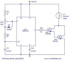 Pwm Lamp Dimmer Using Ne555 Circuit Diagram Dimmer Electronics Projects