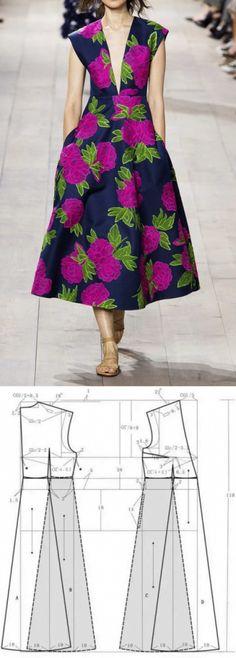New Sewing Dress Cotton Free Pattern 35 Ideas Sewing Dress, Diy Dress, Sewing Clothes, Sewing Diy, Vogue Dress Patterns, Dress Sewing Patterns, Clothing Patterns, Pattern Sewing, Fashion Sewing