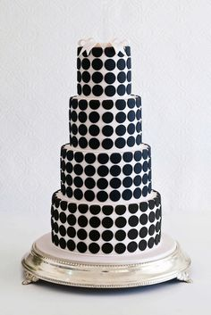 Black and White Polka Dot Three Tiered Wedding Cake
