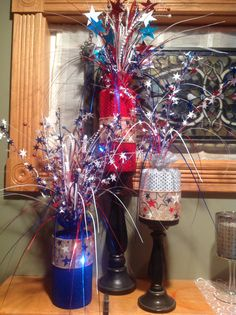 4th of July decorations made out of PVC pipes rapped in fabric.