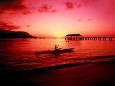 Kayaker in Kauai Hawaii