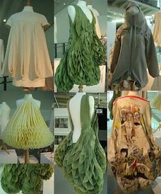 Love the fabric manipulation here; the honeycombed green dress is gorgeous.
