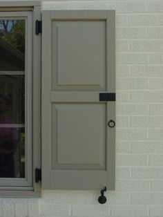 Strap Hinge, Clam Dog, Ring and Colonial Latch installed on a vinyl shutter. Modern Shutters, Farmhouse Shutters, Interior Shutters, Bedroom Shutters, Exterior Windows, Shutter Hinges, Shutter Hardware, Painting Shutters, Vinyl Shutters
