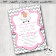 Lamb Baby Shower Invitations Invite by SmartyPartyDesigns on Etsy