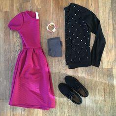 bybmg: LuLaRoe Amelia dress, polka dot cardigan, black booties, bangles, gray No Nonsense tights