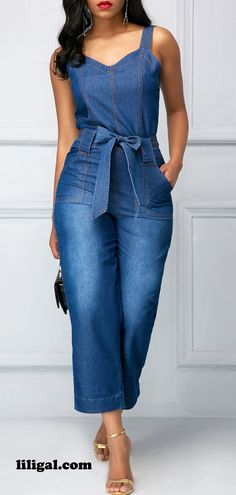 Denim Jeans Jumpsuit with the Belt Strap is unique and one of a kind look. Blue Jumpsuits, Jumpsuits For Women, Denim Fashion, Fashion Outfits, Womens Fashion, Fashion Top, Winter Fashion, Fashion Advice, Plus Size Fashion