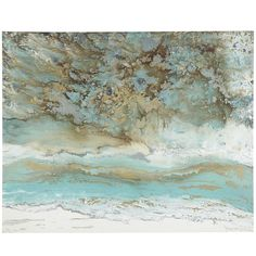 The colors and sensations of a tropical beach pour out of this abstract work. Aqua blues, alluvial browns and pristine whites—they add serenity to your home without detracting attention from other pieces. So go ahead, sea what you want to sea.