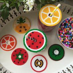Fruit glass covers hama beads by jilifeeflowers