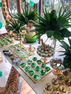 🌿🐯 Ohhh my! Modern safari party dessert table goodness 💚 Styled by as featured in Celebrating Little Ones… Safari Theme Birthday, Jungle Theme Parties, Baby Boy 1st Birthday Party, Baby Party, Birthday Party Themes, Jungle Party, Jungle Theme Baby Shower, Jungle Theme Cakes, Safari Cakes