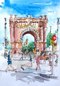 More Barcelona sketches. Walking the narrow alleyways of Barri Gotic is like something out of a dream. Little boutique stores with colorful clothes and accessories juxtaposed against the medieval s…
