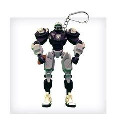 "NFL Oakland Raiders NFL 3"""" Team Cleatus FOX Robot NFL Football Key Chain Version 2.0"