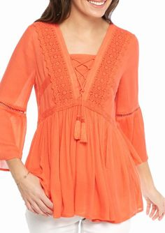 2162100b65e02 Crown   Ivy Womens Plus Size 3X Lace Up Crochet Neck 3 4 Bell Sleeve  Peasant Top