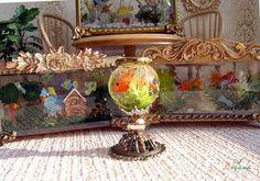 Купить Круглый миниатюрный аквариум 1к12 - аквариум, кукольный аквариум, миниатюрный аквариум, аквариум 1к12