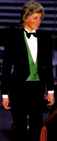 Diana tuxedo style with emerald green vest.