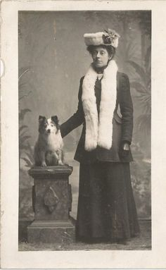 A LADY AND HER DOG FASHION ART PHOTO POSTCARD