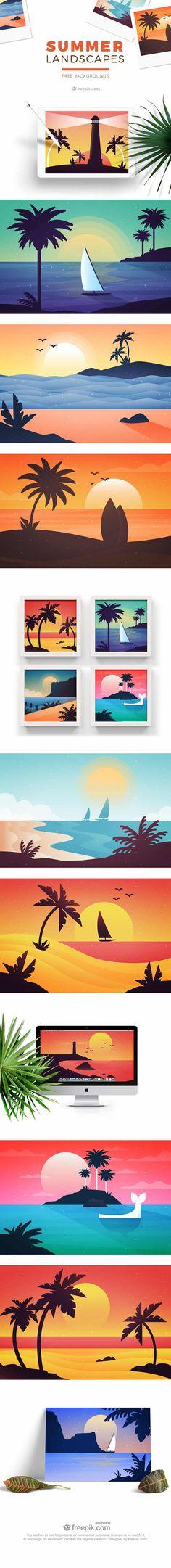 Free Summertime Landscape Illustrations