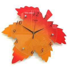 unique Clock Face | Maple Leaf Creative Lovely Stylish Living Room Art Decor Wall Clock