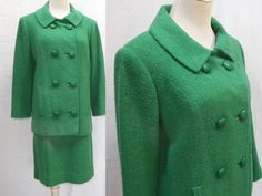 A beautiful emerald green handwoven Irish tweed suit by celebrated Irish designer Sybil Connolly of Dublin (1921-1998), who dressed many notable