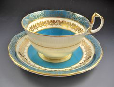 Aynsley Bone China England Teal Green Tea Cup and Saucer Set #Aynsley