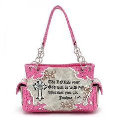 Western Style Concealed Carry Handbag with Cross & Scripture Quote – Handbag Addict.com