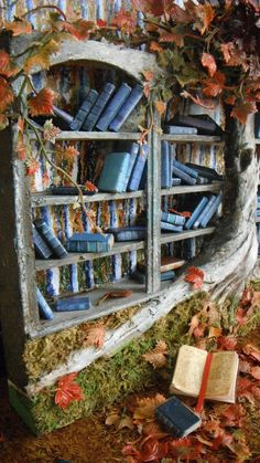 Miniature Fall Blossoms Bookshelf by LDelaney on Etsy, New Orleans Garden District, National Building Museum, Sculpture Painting, Halloween Trees, Blue Leaves, Library Books, Free Library, Book Nooks, Marjolein Bastin
