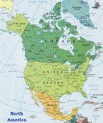 3 countries in North America: Canada (English and French), USA (English) and Mexico (Spanish) North America Map, America And Canada, North America Continent Map, American Falls, Bay Lake, Autumn Lake, Island Pictures, Aquaponics Plants, Yosemite Falls