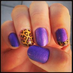 #purple and #leopard print #nailart