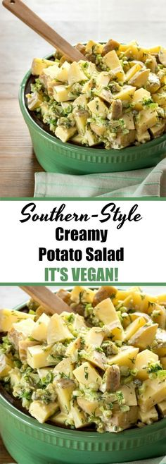 The BEST creamy potato salad you'll ever eat, and it happens to be dairy-free and egg free. #vegan #dairy-free #potatosalad