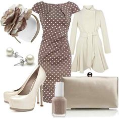great dress.  love the taupe clutch and nail polish.  no headbands.