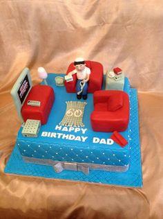 Living room cake Birthday Cakes, Birthday Ideas, Bed Cake, Family Cake, Happy Birthday Dad, Cakes For Boys, Creative Cakes, Fondant Cakes, Clay Ideas