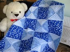 Sing a Lullaby  - a handmade baby quilt for boys designed by The Baby Quilt Lady…