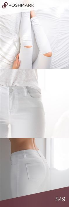 "Southampton White Denim Restocked! White skinnies with a premium look & feel. Stylish slit knees, flattering fit. Color is a true white and finished off with a white matte button. Wearing them rolled for my fav beach chic look but you can of course also wear them regular    Cotton poly spandex, very comfy & stretchy 8.5"" rise, 29.5"" inseam (taken from the 3).  Waist across of size 3: 12.25"" unstretched (Difference between sizes .5"" across) Modeling size 3, fits me true to size  Price firm…"